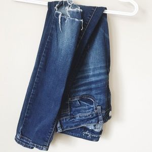 American Eagle Mid Wash Ripped Knee Jeggings